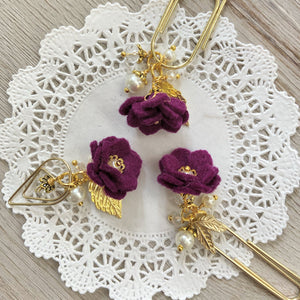 Eggplant Feltie Flower Dangle clip