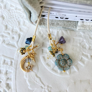 """Celestial"" Opal Blue glass flower and Moon Charm Bookmark"