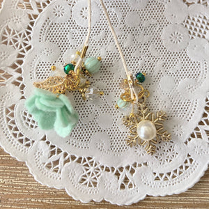 Mint Felt Flower and Snowflake pearl Charm Bookmark