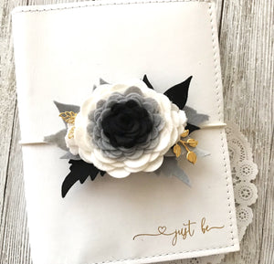 Monochrome Peony Floral Swag with gold leaves, Travelers Notebook Accessories