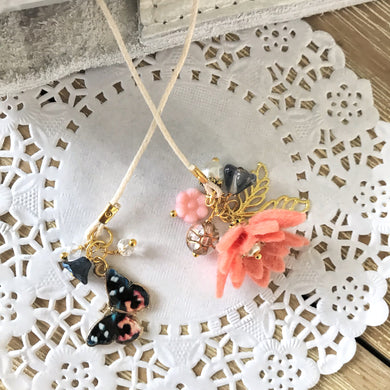 Salmon Felt flower and Butterfly with Beads Bookmark