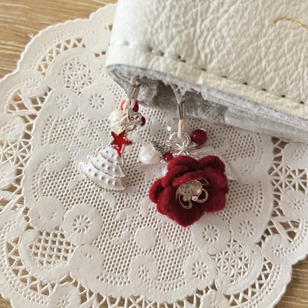 Red felt flower and White Tree Bookmark SILVER Hardware