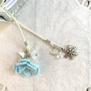Blue Snow felt flower and Silver Snowflake Bookmark, TN Bookmark
