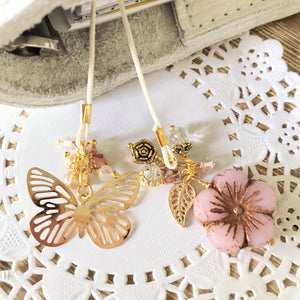 Butterfly Elegance Glass flower, Big Gold butterfly  and Beads Bookmark