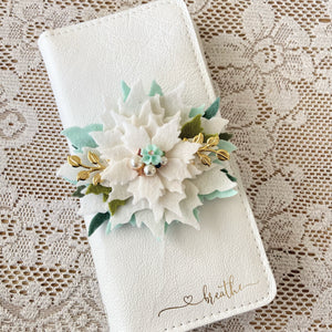 White Nordic Poinsettia with Aqua flower charm center Felt Flower Swag