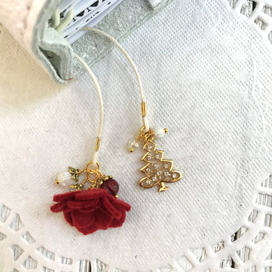 Red felt flower and Gold Rhinestone Tree Bookmark, TN Bookmark
