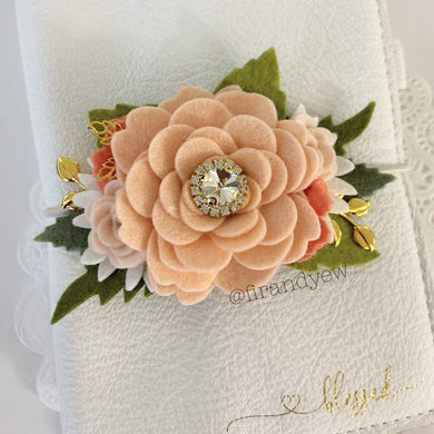 Peach Rose flower cluster Floral Swag with gold leaves