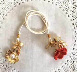 Copper Felt Flower and Beads with Gold Leaf Bookmark