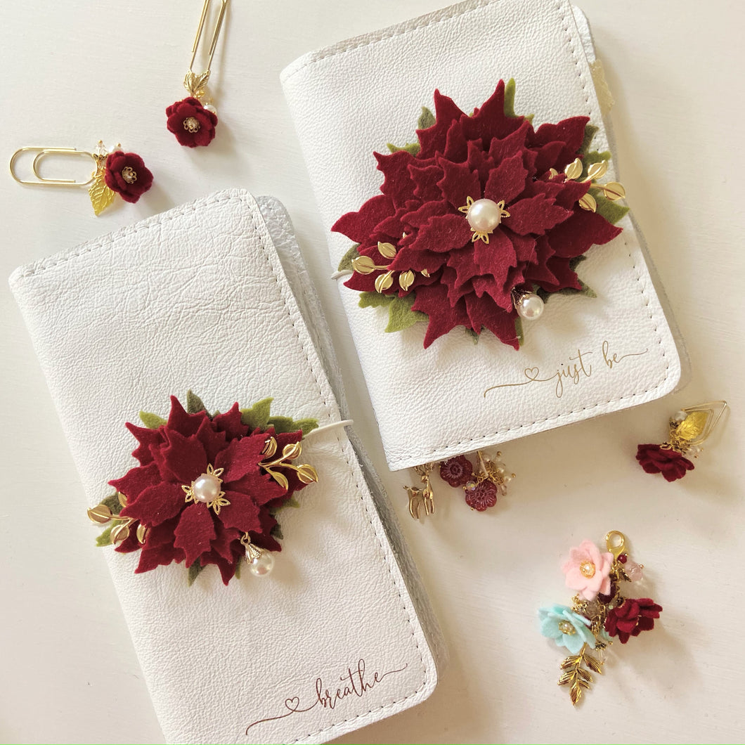 Small Red Poinsettia Felt Floral Swag
