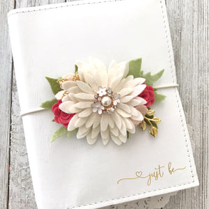 Daisy and Coral pink flower cluster Floral Swag with gold leaves