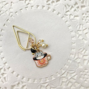 "Here Kitty Kitty ""Calico"" mini Teacup Charm Drop Clip"