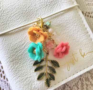 Tropical Vibes Field of Flowers felt flower and Beads Charm