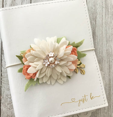 Daisy and Peaches flower cluster Floral Swag with gold leaves