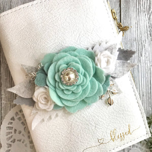 Aqua Rose flower cluster Felt Floral Swag with silver leaves