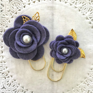 Dusty Purple Felt Flower Paper Clip Set, Travelers Notebook Bookmark, Travelers Notebook Accessories, TN Charms, TN Accessories