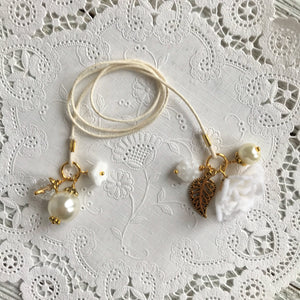 White Felt Flower and Pearl Bookmark with Beads, TN Bookmark