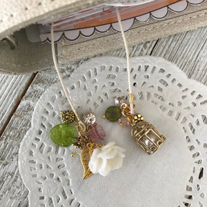 Birdcage Bookmark with white felt flower