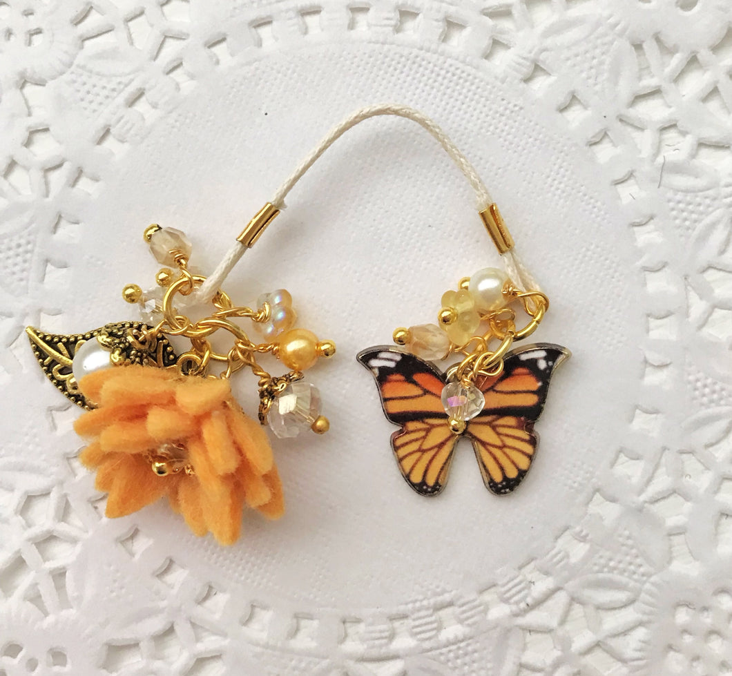Sunset Butterfly and Felt flower and Beads Bookmark