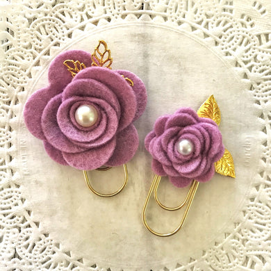 Wisteria Felt Flower Paper Clip Set, Travelers Notebook Bookmark, Travelers Notebook Accessories, TN Charms, TN Accessories