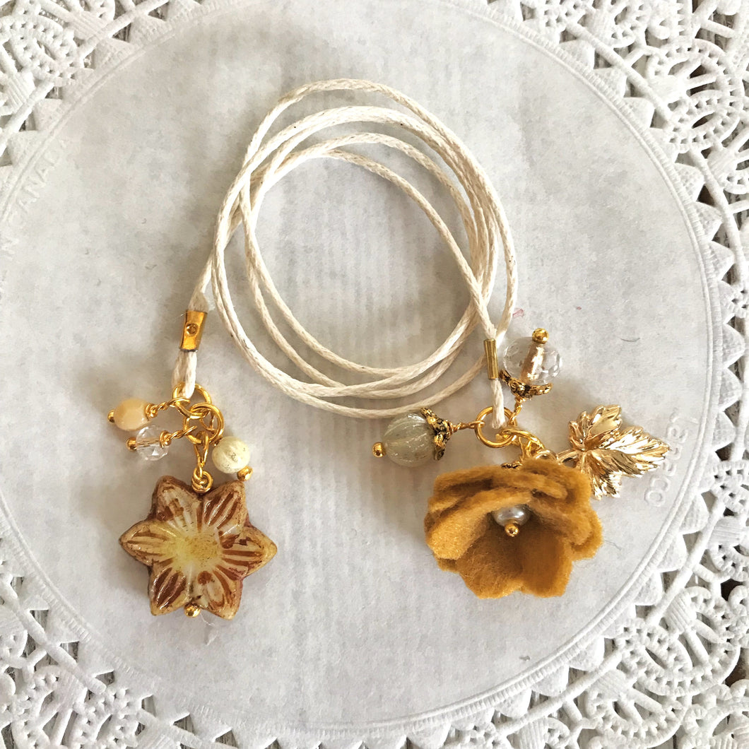 Old Gold Felt Flower and Beads with Glass Sunflower Bead Bookmark, TN Bookmark