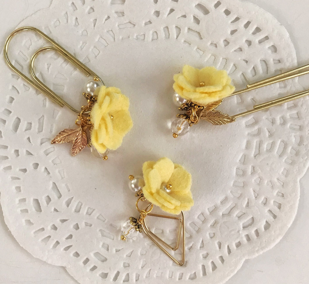 Buttercup Felt Flower Dangle clip