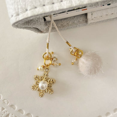 Warm and Fuzzy Ivory Pom with Gold Snowflake Charm Bookmark