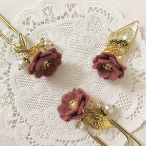 Vintage Rose Felt Flower Dangle clip