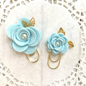 Blue Snow Felt Flower Paper Clip Set