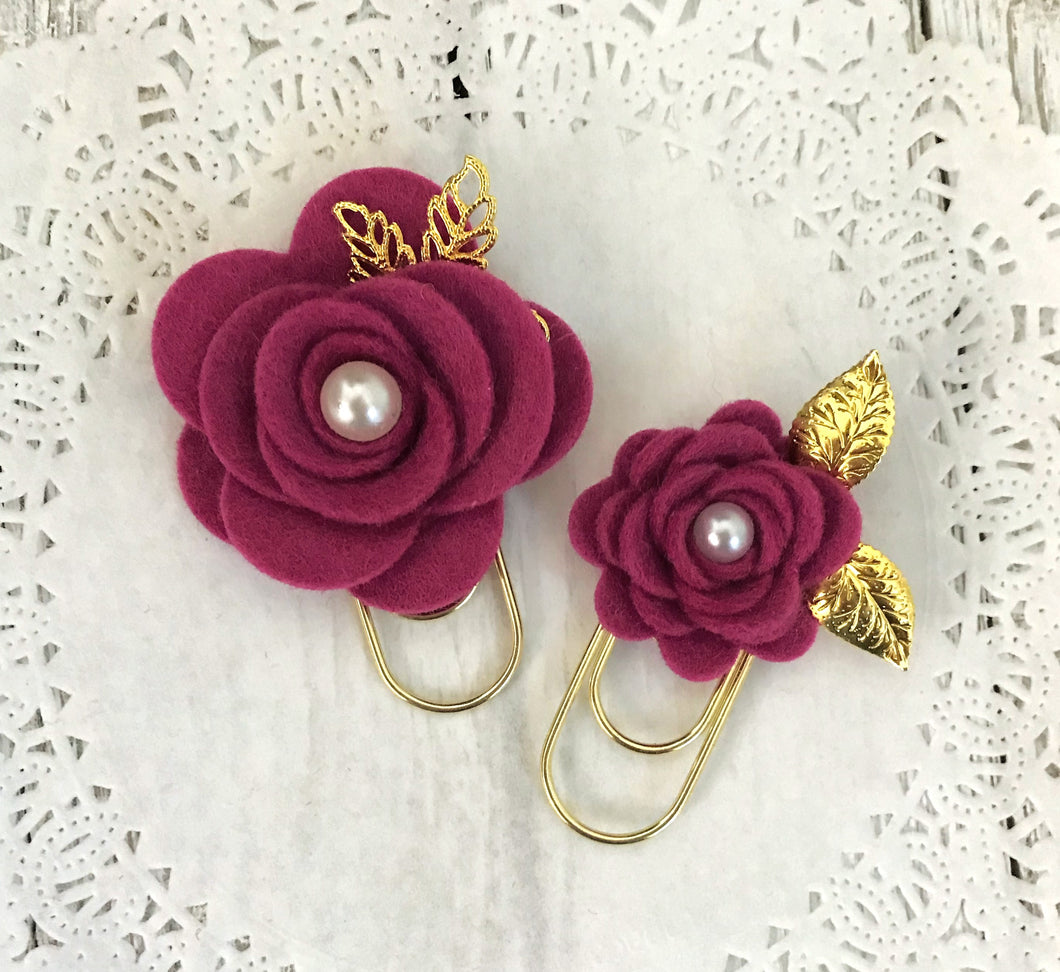 Berry Felt Flower Paper Clip Set, Travelers Notebook Bookmark, Travelers Notebook Accessories, TN Charms, TN Accessories