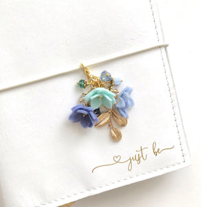 Field of Flowers Charm in Aqua, Light Periwinkle and Dusty Purple