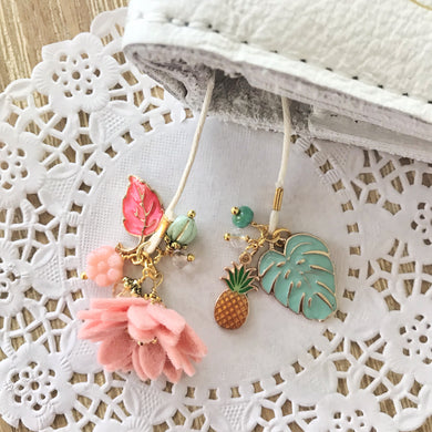 Tropical Vibes in Cameo Felt Flower and Beads Bookmark