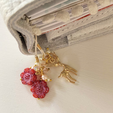 Oh Deer in Red glass flowers and charm bookmark