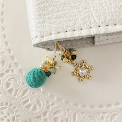 Sweater Weather in Teal with Gold Snowflake Charm Bookmark