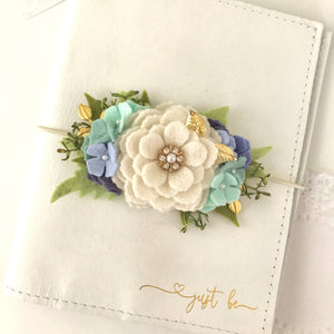 White Rose and Blue Hydrangea Felt Flower Swag