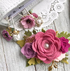 Rose Pink, Berry and Plum flower cluster Floral Swag with gold leaves, Travelers Notebook Bookmark, Travelers Notebook Accessories