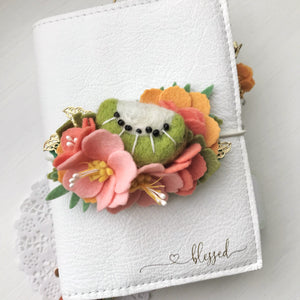 Tropical Vibes- Kiwi and Pink Hibiscus Felt Flower Swag