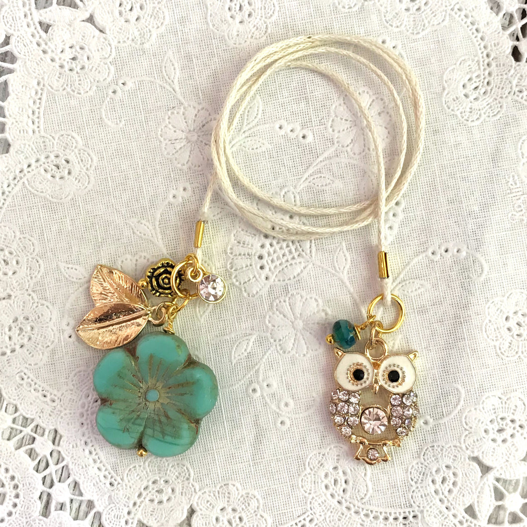 Teal Glass Flower and Owl Charm Bookmark with Beads, TN Bookmark