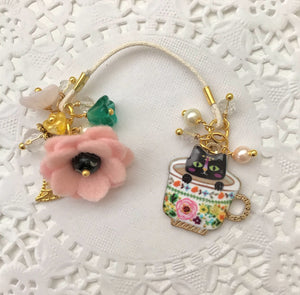 "Here Kitty Kitty ""Egypt"" Teacup and felt Flower and Beads Bookmark"