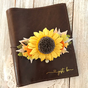 The Sunflower cluster Felt Floral Swag with gold leaves