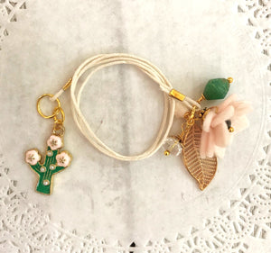 Porcelain Felt Flower with Cactus Charm and Beads Bookmark, TN Bookmark