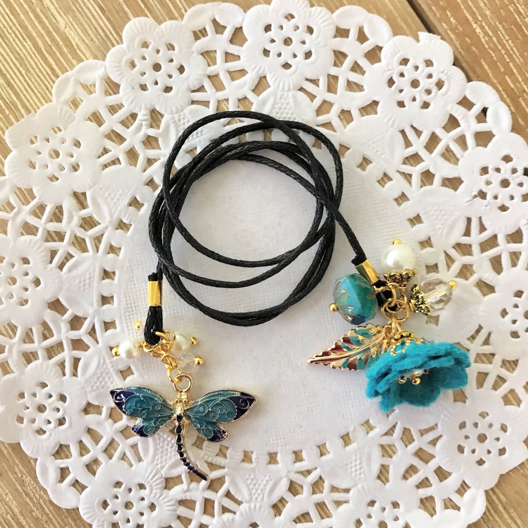 Peacock Felt flower and Dragonfly Charm with Beads Bookmark