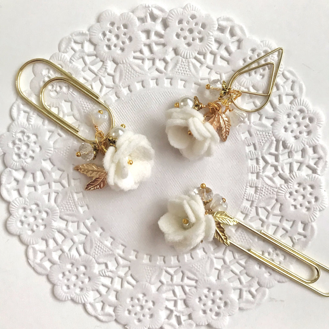 Felt Flower Dangle in White