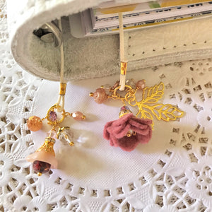Mauve Beauty Felt Flower and Beads Bookmark