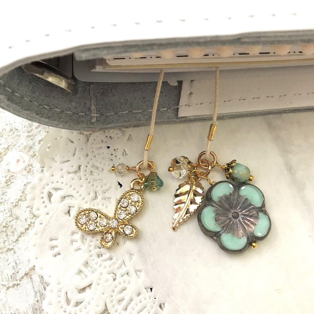 Fly Free Glass Flower and Beads Bookmark