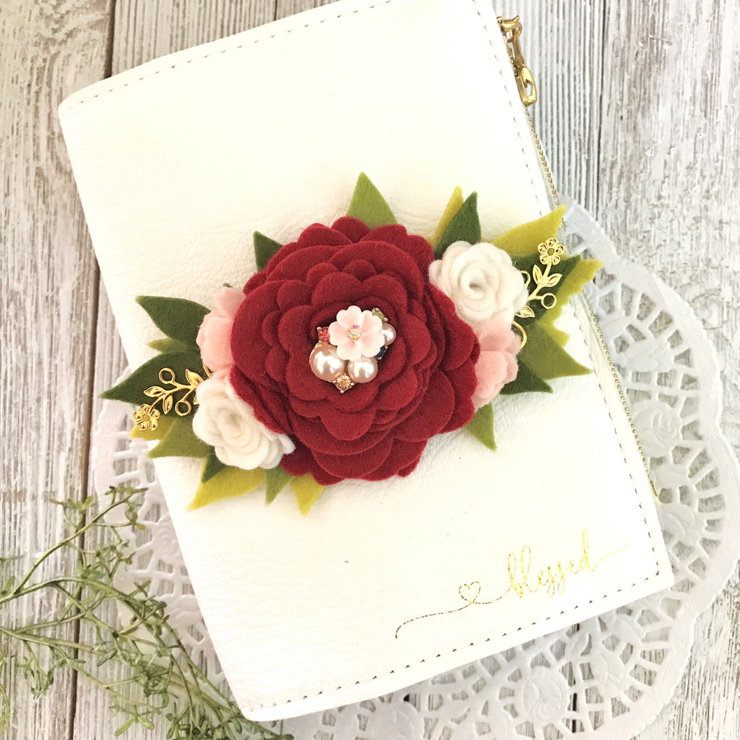 Cheryl's Christmas Rose Felt Floral Swag with gold leaves