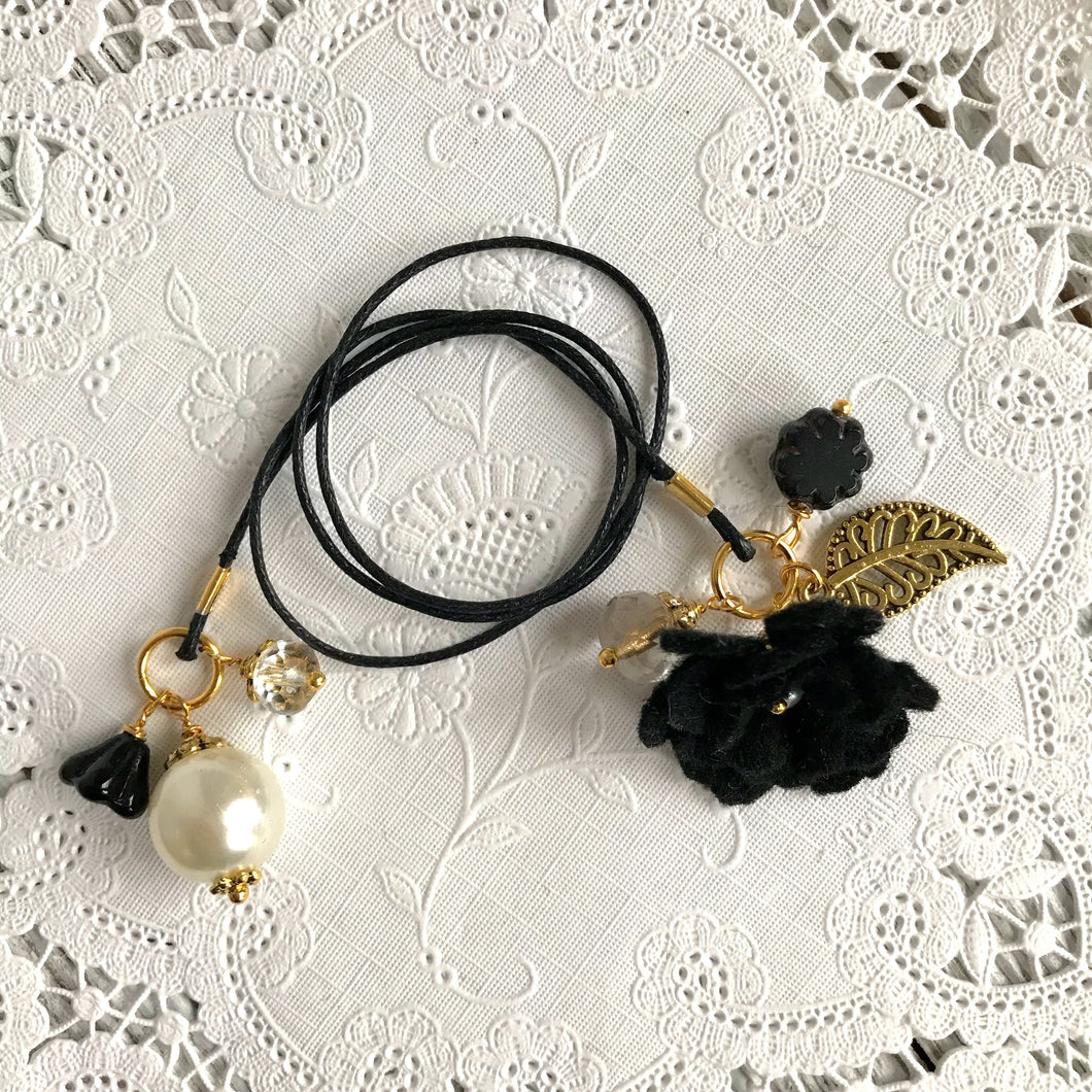 Black Felt Flower and Beads with Pearl Bookmark, TN Bookmark