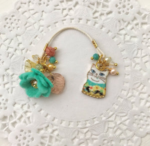 "Here Kitty Kitty ""Blanche"" and felt Flower and Beads Bookmark"