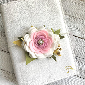 The Pink Peony Floral Swag with gold leaves, Travelers Notebook Accessories
