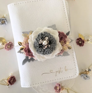 White, gray and rose Felt Flower Swag