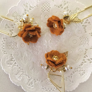 Pumpkin Felt Flower Dangle clip